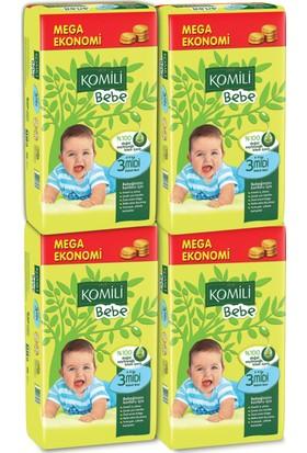 Komili Bebe Bebek Bezi 3 Beden 4'lü Mega Paket 216 Adet