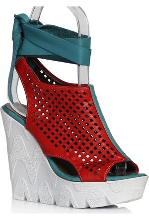 UK Polo Club P64711 Kadın Topuklu Sandalet - Kırmızı Yeşil