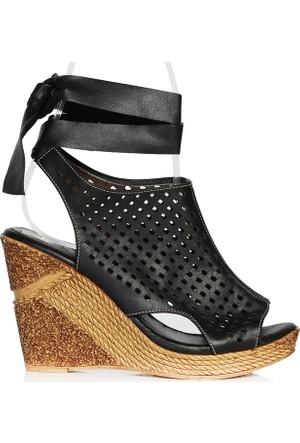 UK Polo Club P64711 Kadın Topuklu Sandalet - Siyah