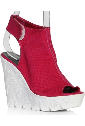 UK Polo Club P64707 Kadın Topuklu Sandalet - Fuşya