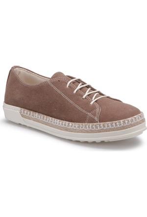 Butigo S794 Vizon Kadın Sneaker Ayakkabı Kalin Taban Keten