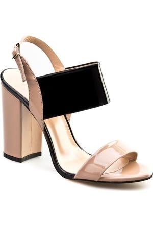 Cabani Topuklu Günlük Kadın Ayakkabı Nude Rugan