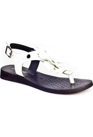 Cabani Parmak Arası Günlük Kadın Sandalet Beyaz Rugan
