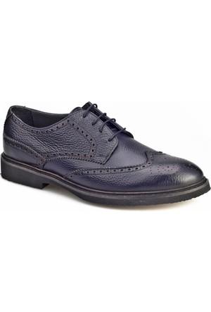 Cabani Oxford Günlük Erkek Ayakkabı Lacivert Kırma Deri