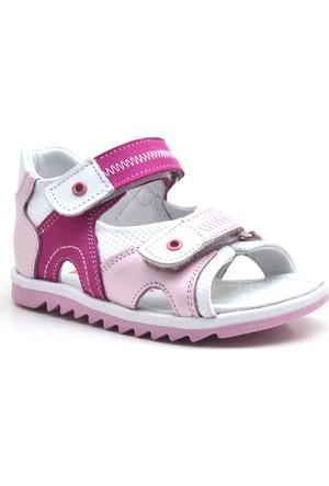 Nino® Cırtlı Ortopedik Pembe Kız Bebek Sandalet