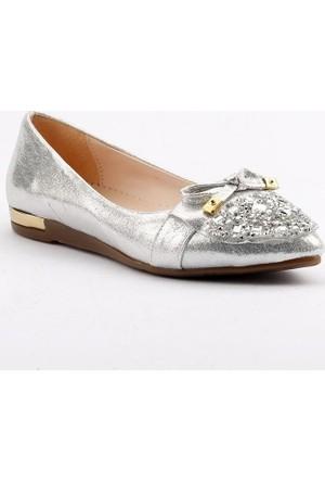 Ccway K34 Sivri Burun Taşlı Bayan Babet Ayakkabı