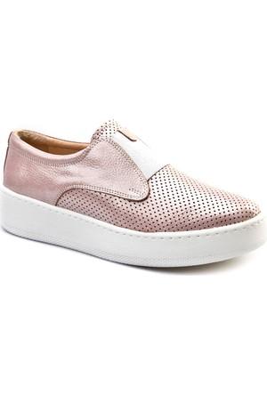 Cabani Bağcıksız Sneakers Günlük Kadın Ayakkabı Pembe Deri
