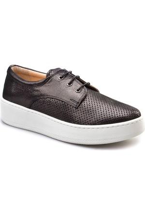 Cabani Bağcıklı Sneakers Günlük Kadın Ayakkabı Siyah Deri