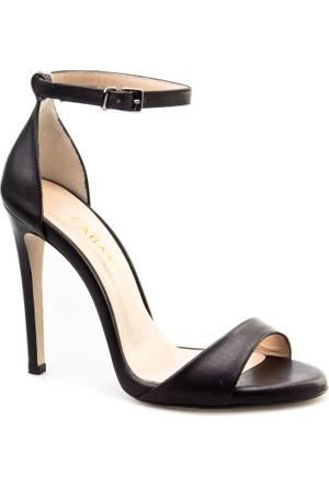 Cabani Bilekten Bağlı Topuklu Günlük Kadın Ayakkabı Siyah Deri