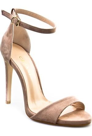 Cabani Bilekten Bağlı Topuklu Günlük Kadın Ayakkabı Vizon Süet