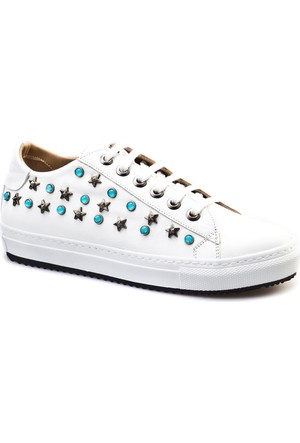 Cabani Yıldız Zımbalı Sneakers Günlük Kadın Ayakkabı Beyaz Deri