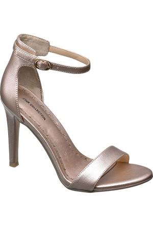 Catwalk Metalik Pudra Topuklu Ayakkabı