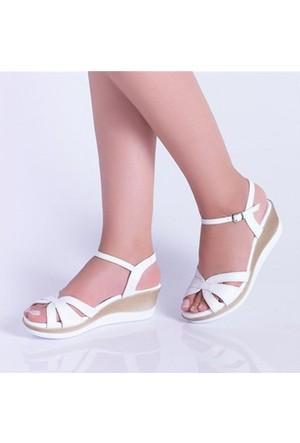 Kayra Beyaz Dolgu Topuk Kadın Sandalet 02