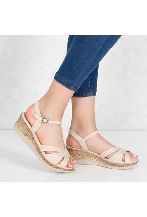 Kayra Bej Dolgu Topuk Kadın Sandalet 02