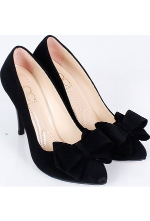 Oc Bonni Siyah Süet Fiyonklu Topuklu Kadın Stiletto 080