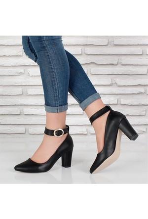 Oc Siyah Alçak Topuk Tokalıkadın Ayakkabı 088
