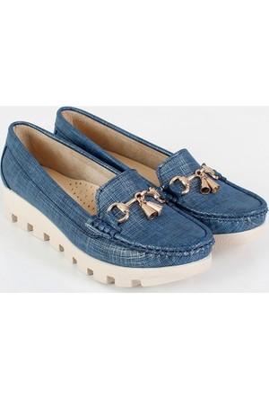 Oc Lacivert Simkot Dolgu Topuk Kadın Ayakkabı 112