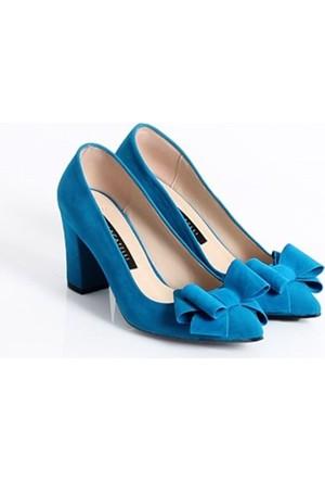 Marcatelli Daisy Mavi Süet Fiyonklu Kalın Topuklu Kadın Ayakkabı 158