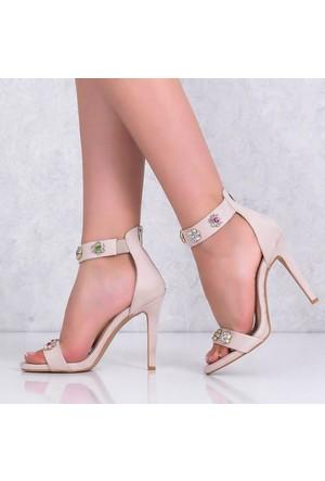 Lonar Bej Süet İnce Topuklu Kadın Ayakkabı 499