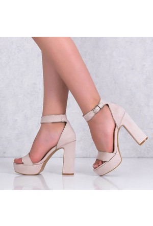 Lonar Bej Süet Platform Topuklu Kadın Ayakkabı 506