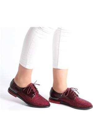 Rsl Bordo Bağcıklı Düz Kadın Spor Ayakkabı1003
