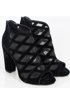 Sms Siyah Süet Topuklu Filelikadın Ayakkabı 2106