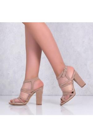 Smsbej Nubuk Kalın Topuklu Kadın Sandalet 2136