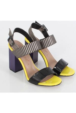 Sms Sar I Rugan Bayan Kalın Topuk Sandalet 3565