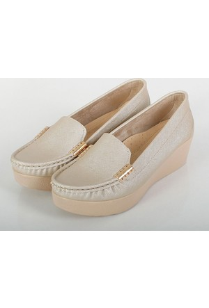Oc Altın Prada Kalın Dolgu Topuklu Kadın Ayakkabı 109K