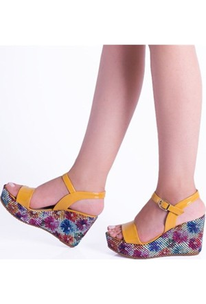 Beeshoes Bee Hardal Rugan Renkli Çiçek Desenli Dolgu Topuk Kadın Sandalet 101
