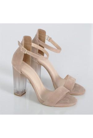 Bono Bej Süet Kalın Yüksek Topuklu Kadın Ayakkabı 1405 Şeffaf