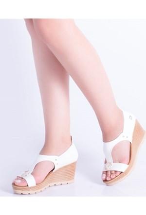 Descarıo Haven Beyaz Taşlı Dolgu Topuk Kadın Sandalet 991