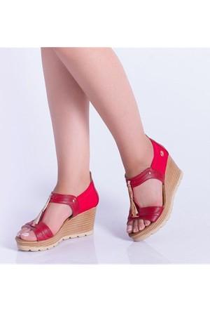Descarıo Haven Kırmızı Taşlı Dolgu Topuk Kadın Sandalet 992