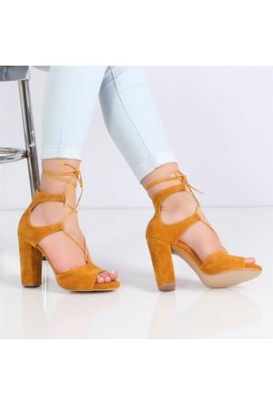 Flamenco Hardal Süet Topuklu Kadın Sandalet190