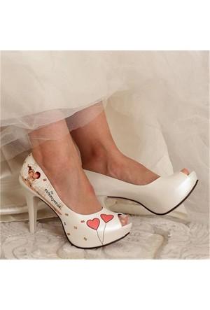 Free Four Bridal Sedef Kalpli Model Platform Topuk Kadın Gelinlik Ayakkabı 1020