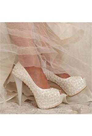 Free Four Bridal Sedef Boncuk Gülleriplatform Topuk Kadın Gelinlik Ayakkabı 4063