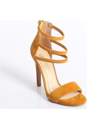 Lamasathardal Süet Kafesli Topuklu Kadın Sandalet709