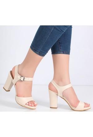 Myestro Bej Kalın Topuklu Kadın Sandalet Kt10