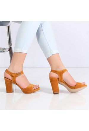 Myestro Hardal Süet Kalın Topuklu Kadın Sandalet Kt10