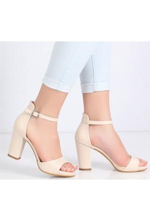 Myestro Bej Kalın Topuklukadın Sandalet Kt10-1