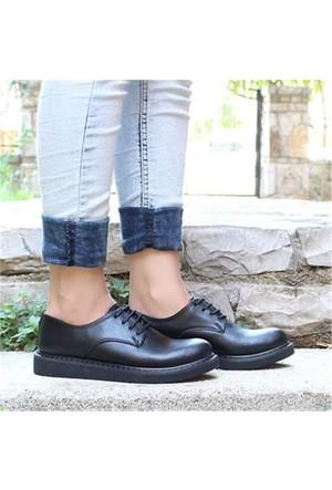 Marcobellini Siyah Bağcıklı Düz Taban Kadın Spor Ayakkabı2060