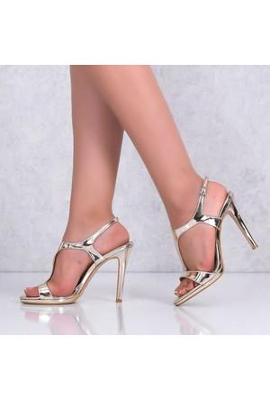 Marcoferretti Altın Rugan İnce Topuklu Kadın Ayakkabı 613