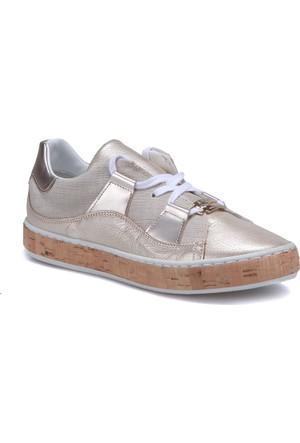 Butigo 2886/08 Altın Kadın Deri Sneaker Ayakkabı