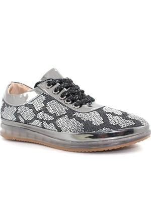 Oflaz Caprito Y-600 Platin Ayna Kadın Deri Günlük Ayakkabı