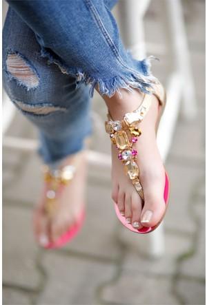 İnce Topuk Taşlı Sandalet 7YAZA0291963