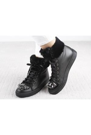 Veyis Usta Kürklü Önü Taşlı Bayan Ayakkabı 112