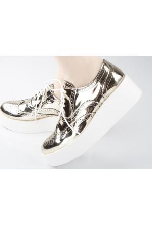 Veyis Usta Beyaz Kalın Taban Parlak Bayan Ayakkabı 265
