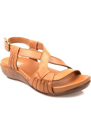 Ziya Kadın Hakiki Deri Sandalet 7176 1094 Taba