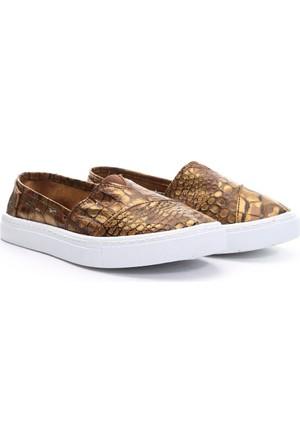 19V69 Italia Bayan Deri Tm Ayakkabı Altın