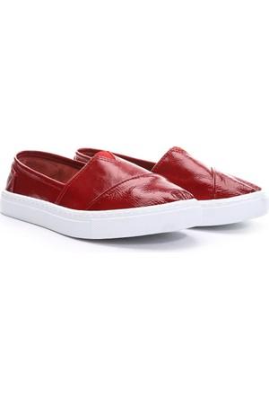 19V69 Italia Bayan Deri Tm Ayakkabı Kırmızı